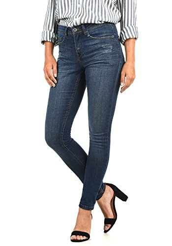 BlendShe Adriana Damen Jeans Denim Hose Röhrenjeans Aus Stretch-Material Mit Destroyed-Look Skinny Fit, Größe:S, Farbe:Dark Blue Washed (29053)