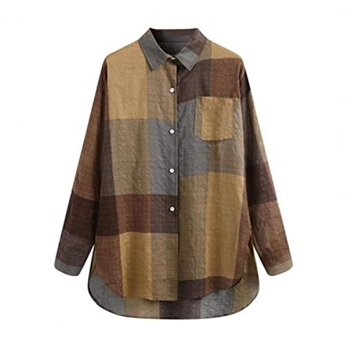 2021!!! Shirt Plaid Turn Collar Women Long Sleeve Buttons Blouse Top for Spring