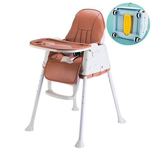 Multifunktions-Baby-Stuhl Mit Doppeltem Verwendungszweck, Kindesswagen, Kindersitz 0-3 Jahre Alt 6 IKEA Baby, Verstellbarer Baby-essstuhl Mit Rädern & Hochwertiger Ledermatte,Brown