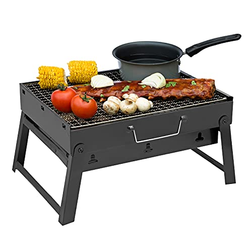 SA Products Foldable Charcoal BBQ Grill - Mini Portable Tabletop Barbeque - Great Folding Barbecue for Garden, Party, Festivals, Picnic, Camping, Hiking, Small Fire Pit - Easy to Carry in a Backpack