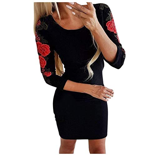 Buy Bargain Womens Long Sleeve Solid Mini Dress, Ladies Floral Embroidery Boho Stretch Bodycon Beach...