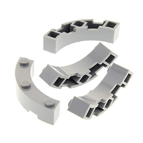 4 x Lego System Bogenstein neu-hell grau 4x4 Makkaroni Form viertel Kreis Zaun Ecke rund Brunnen Stein Star Wars 10227 7965 4504 48092