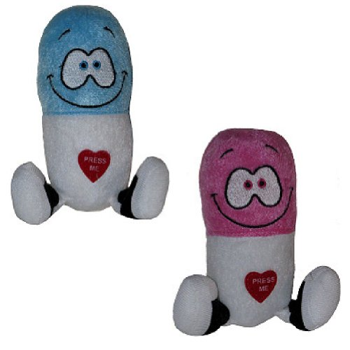 CloseoutZone (Set/2) Giggling Happy Pills Plush Toys - Cute Animated Laughing Medicine