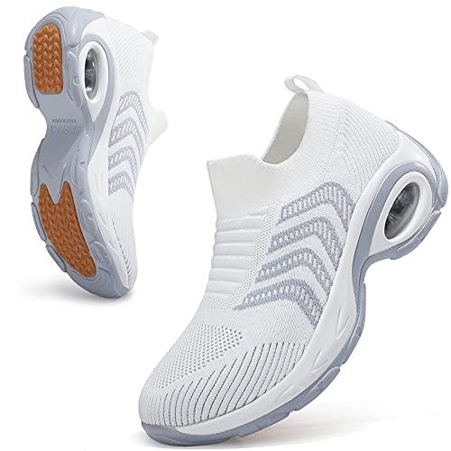 Sixspace Zapatos para caminar para mujer - Calcetín zapatillas de deporte sin cordones para mujer, blanco (Blanco-498), 36 EU