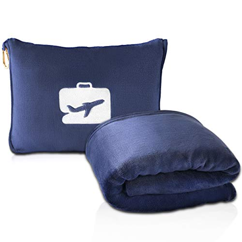 EverSnug Manta de viaje y almohada – Premium suave 2 en 1 manta de avión con bolsa suave, cinturón de equipaje de mano y clip para mochila (azul marino)