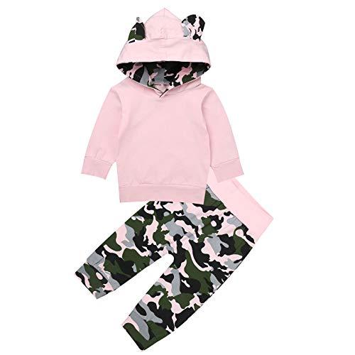 Alvivi Baby Mädchen Kleidung Set Langarm Kapuzenpullover Top+Blumen Druck/Camouflage Hose Jogginganzug Outfit für Frühling Herbst Winter Rosa 80-86