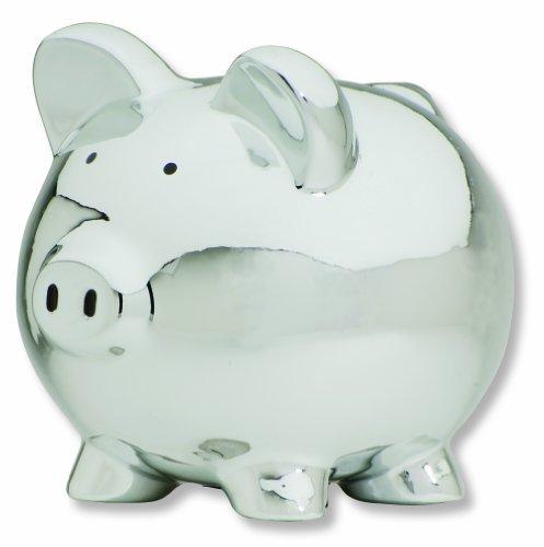 Carters Smiley Happy Piggy Bank, Silver