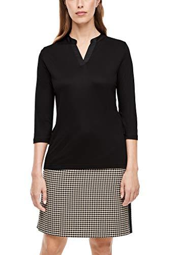 s.Oliver BLACK LABEL Damen Jerseyshirt mit Satinblende Black 38