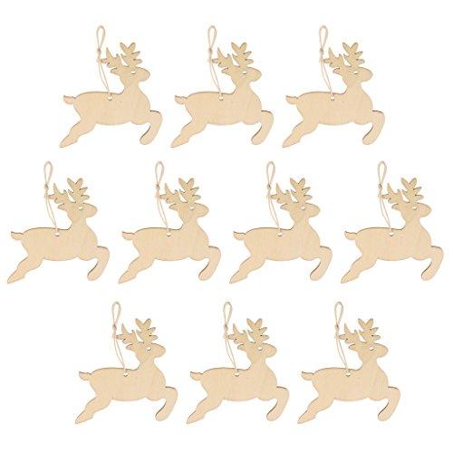 harayaa Adornos Colgantes de árbol de Navidad con Forma de Ciervo de Madera Vintage de 10 Piezas