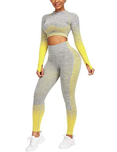 CINDYLOVER Mujeres Conjunto de Yoga 2 Piezas - Seamless Gradient Top de Manga Larga Pantalón Deportivo Leggings sin Costuras Alta Cintura Elásticos Fitness para Gymnasio Amarillo S