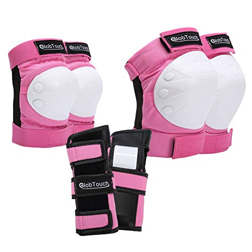 GLOBTOUCH Child Knee Pads Elbow Pads Wrist Guards 6 in 1 Protective Gear Set Toddler to Adult for Multi Sports Skateboarding Inline Roller Skating Cycling Biking Bicycle Scooter-Pink-l