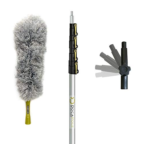 DocaPole 7-30 Foot Extension Pole + Microfiber Feather Duster // High Reach Dusting Kit for Dusting High Ceilings and Surfaces with Telescopic Pole // Telescoping Pole for Dusting…
