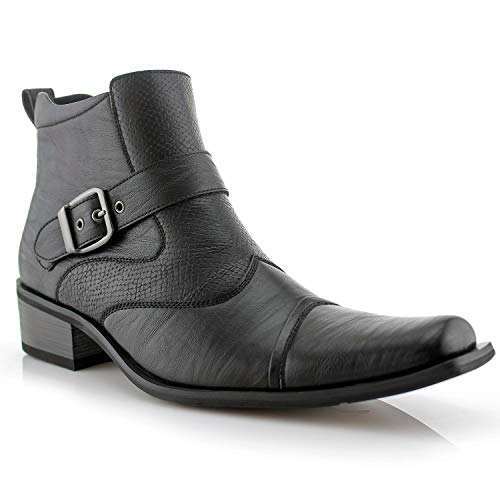 Ferro Aldo Alejandro MFA606326 Mens Memory Foam Casual High Western Buckle Strap Ankle Dress Boots - Black, Size 11