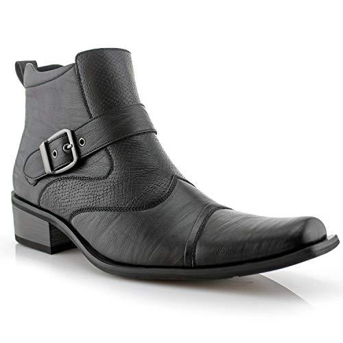 Ferro Aldo Alejandro MFA606326 Mens Memory Foam Casual High Western Buckle Strap Ankle Dress Boots - Black, Size 8