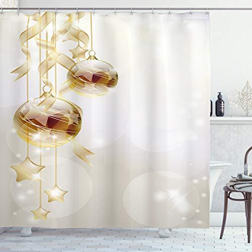 ABAKUHAUS Weihnachten Duschvorhang, Weihnachtskugeln Moderne, Waserdichter Stoff mit 12 Haken Set Dekorativer Farbfest Bakterie Resistet, 175 x 180 cm, Braun Gelb-weiß
