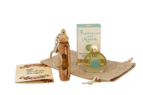 THE JERUSALEM GIFT SHOP SINCE 2004 Authentic Olive Wood Keychain with EIN Gedi Frankincense and Myrrh Anointing Oil with Biblical Spices from Bethlehem