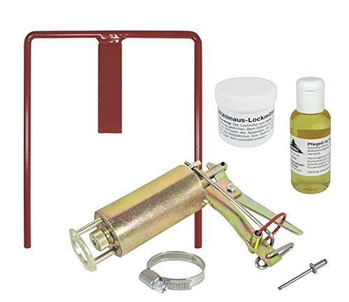 Wühlmausfalle Kieferle W2 + Halter + Pflegeöl + Lockmittel + Ausdrücker
