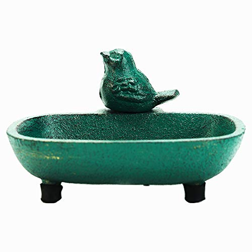 Sungmor Heavy Duty - Jabonera de Hierro Fundido para pájaros - 12.8 × 10 × 7.2cm / Estilo Antiguo/Verde Retro - Caja de jabón Decorativa para Patio Villa Farmhouse Baño Decoración de baño Elegante