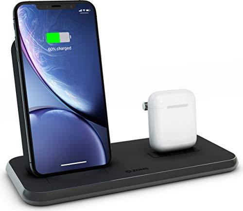 ZENS Qi & MFi certificado Aluminium Wireless Charger Stand+Dock Negro, Fast Charging para Apple iPhone y Samsung, Funciona con Apple AirPods 1/2/Pro y todos los teléfonos con función Qi