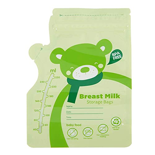 Muttermilchbeutel, sicheres ungiftiges, praktisches Flaschenmund-Design, Zubehör für Milchpumpen(green)