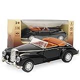 Modelo Die Cast clásico 1:36 Mini estimulación Aleación Coche clásico Roadster con luces Modelo de sonido Vehículo de juguete de regalos para niños(Negro)