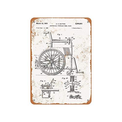 Fhdang Dekor Vintage Muster 1951 Elektrischer Rollstuhl Patent Vintage Look Metallschild Aluminium Schild, metall, multi, 6x9 inches