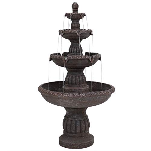 Sunnydaze Mediterranean Outdoor Water Fountain - Large 4-Tiered Fountain & Backyard Waterfall Feature - 49 Inch Tall