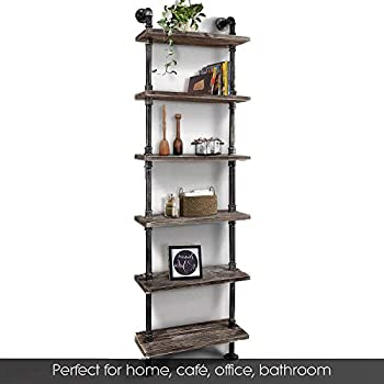 WGX Design For You Industrial 6-Tiers Modern Ladder Shelf Bookcase,Wood Storage Shelf,Display Shelving, Wall Mounted Wood Shelves, Metal Wood Shelves Bookshelf Vintage Wrought Iron Finish