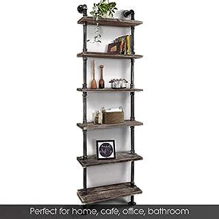 Industrial 6-Tiers Modern Ladder Shelf Bookcase ,Wood Storage Shelf,Display Shelving, Wall Mounted Wood Shelves, Metal Wood Shelves Bookshelf Vintage Wrought Iron Finish