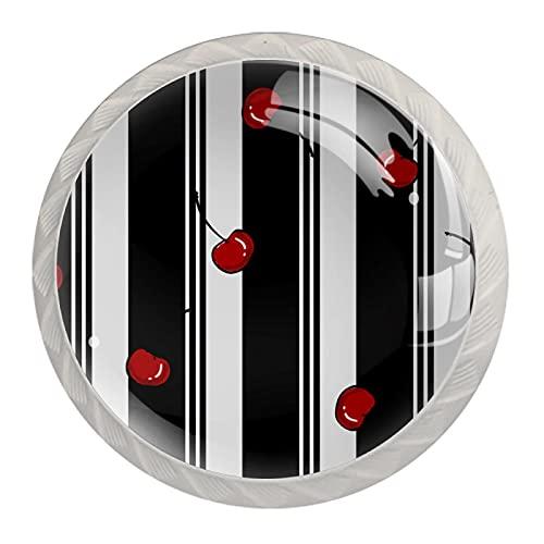 Tirador de la perilla del cajón 4 piezas El cajón del gabinete de vidrio de cristal tira las perillas del armario,raya blanca negra cereza