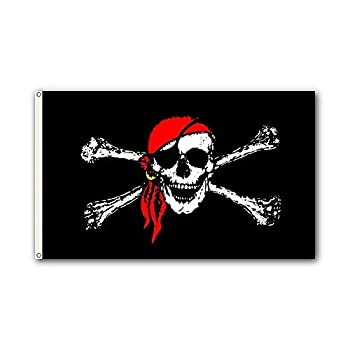 Shoe String King SSK Pirate Outdoor Flag - Large 3  x 5  Weather-Resistant Polyester