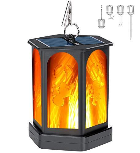 Idealife Solarlaterne für Außen Flammenlicht Garten, Solarleuchten Solarfackeln 96 LED mit Realistischen Flammen Automatische EIN/Aus Wasserdicht Solarlampen Solarlichter Weglichter Hoflicht 1 Stück