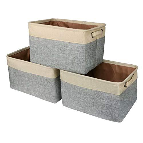 EDATOFLY Lot de 3 Panier de Rangement Tissu, Boîte de Rangement Pliable en Coton de Jute avec Poignée Paniers de Rangement en Toile pour Étagères, Placard, Jouets (Beige&Gris)