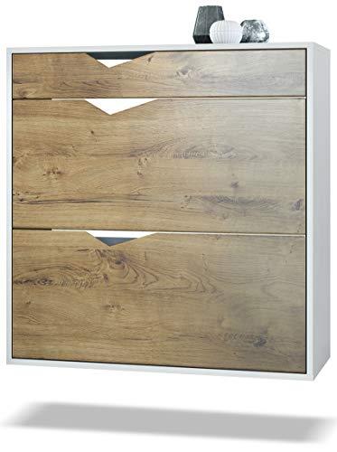 Zapatero Kolmio 85 x 87 x 33 cm, Cuerpo en Blanco Mate, frentes en Roble Ribbeck | Amplia selección de Colores