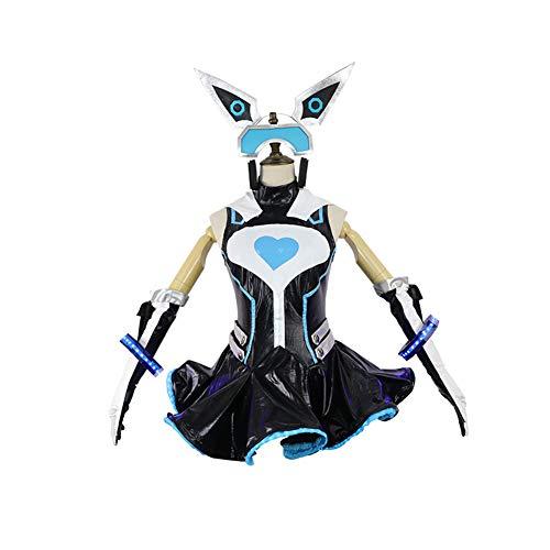 CGBF -Juego en lnea Femenino Hacker Cosplay Disfraz Sci-Fi Robot Novia Uniforme para Adultos Halloween Party Fancy Dress, Negro, S
