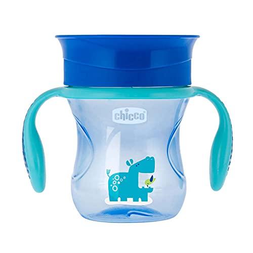 Chicco Vaso Infantil Perfect, Vaso Antiderrame de 200 ml, Vaso Aprendizaje para Bebés +12 Meses para Aprender a Beber, con Válvula de Silicona y Asas Extraíbles, sin BPA ,Color Azul