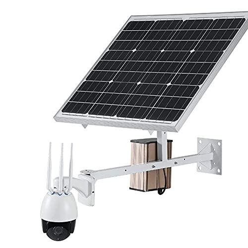 Telecamera Pan Tilt 4G Lte Per Esterni A Energia Solare Con Telecamera Di Sicurezza - Videocamera A Cupola Ottica 5X - Monitor Ptz Per Esterni Con Visione Notturna, Rilevamento Movimento Pir,1080P