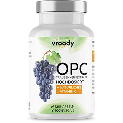 OPC Traubenkernextrakt hochdosiert mit natürlichem Vitamin C - 120 OPC Kapseln (4 Monate) mit Acerola, 100% vegan & natürlich, OPC hochdosiert nur eine Kapsel täglich, 95% Wirkstoffanteil