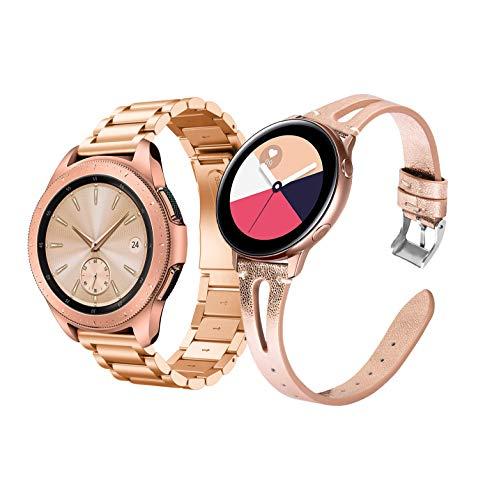 Syxinn Compatible con Correa Samsung Galaxy Watch 42mm/Galaxy Watch 3 41mm 20mm Acero Inoxidable Metal+Cuero Banda Pulsera para Galaxy Watch Active/Active 2 40mm 44mm/Gear Sport/S2 Classic