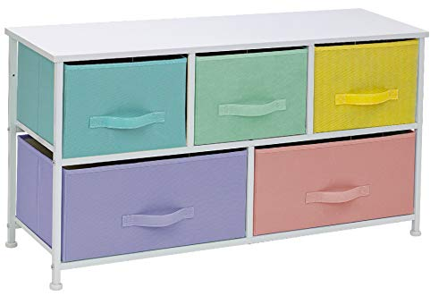 Sorbus Dresser with 5 Drawers - Furniture Storage Chest for Kid's, Teens, Bedroom, Nursery, Playroom, Clothes, Toys - Steel Frame, Wood Top, Fabric Bins (5-Drawer Dresser, Pastel/White)