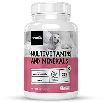 Animigo Vitamines pour Chien – 365 Comprimés Goût Poulet 23 Multivitamines et Minéraux Chien Chiot