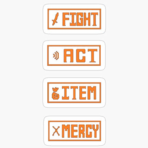 Vinyl Sticker for Cars, Trucks, Water Bottle, Fridge, Laptops Undertale - Fight Menu Stickers (3 Pcs/Pack)