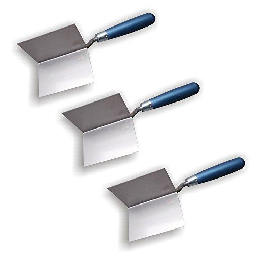 3er Set DEWEPRO® Außenecken-Kelle - Außeneckkelle - Eckkelle - Kantenkelle - 85x60x60mm - Eckenkelle mit Edelstahlblatt und Holzgriff/Holzheft