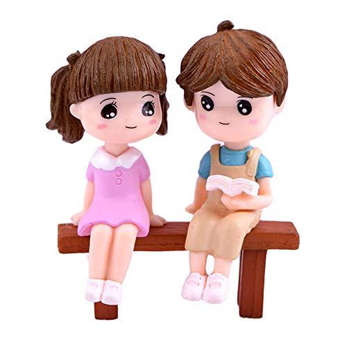 Whiie891203 DIY Miniaturas De Casa De Muñecas Linda Lectura Pareja Sentado Banco Modelo Juguete Llavero Colgante DIY Decoración del Paisaje