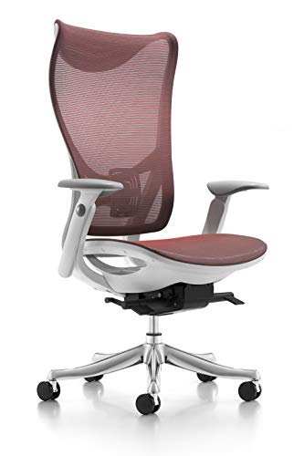 Furmax Mesh Ergonomic High Back Office Desk Chair Adjustable Swivel Task Chair with Armrests (Red)