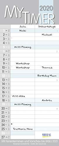My Timer 2020: Familienkalender mit 2 breiten Spalten. Hochwertiger Familienplaner mit Ferienterminen und Vorschau bis März 2021.