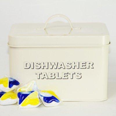 Lata de almacenamiento para pastillas de lavavajillas, estilo retro, color beis