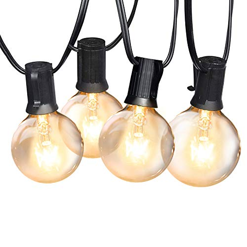 Globe String Lights 25 Feet with 12 Dimmable Shatterproof Glass Bulbs (3 Spare), IP44 Waterproof Connectable Hanging Lights for Indoor Outdoor Backyard Porch Party Home Decor (Warm White)