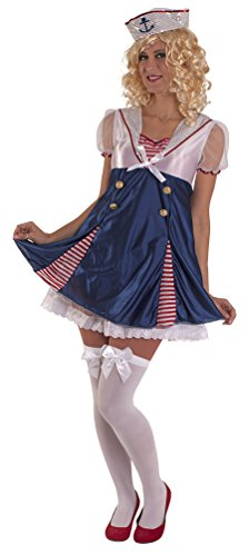 Karneval-Klamotten Matrosen Kostüm Matrose Damen Kostüm Matrosin sexy blau-weiß-rot Karneval Kleid inkl. Matrosen-Mütze