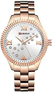 Curren 9009 Quartz Movement Round Dial Stainless Steel Waterproof Watch for Women- Rose Gold, White